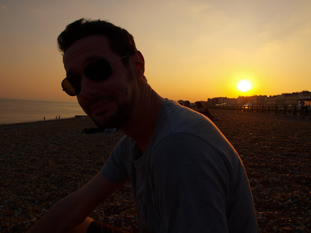 Brighton beach at sunset