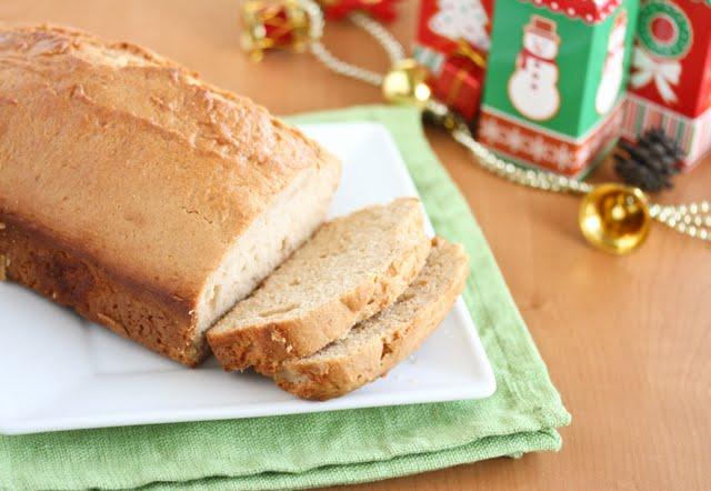 photo of sliced eggnog bread