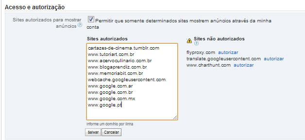 Lista de sites autorizados a exibir anúncios de minha conta