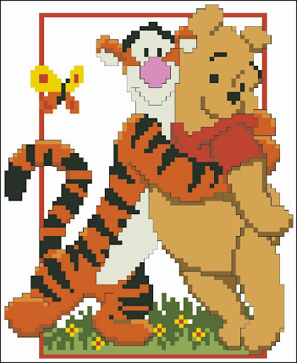 Tigger and Pooh cross stitch pattern