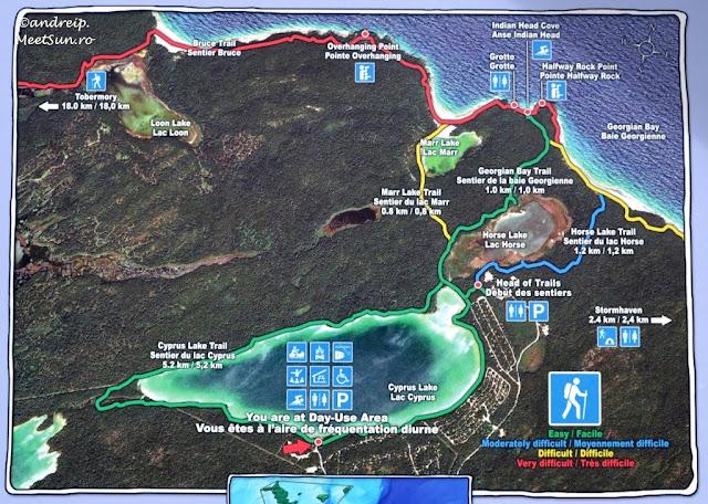 harta Lacul Cyprus si traseele spre Golful Georgian