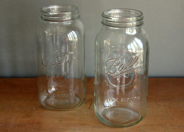 Half gallon clear mason jars available for rent from www.momentarilyyours.com, $1.50 each.