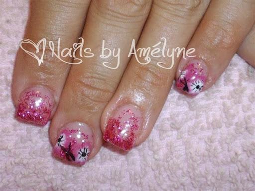 Fuchsia Glitter  Hand Painted Flowers