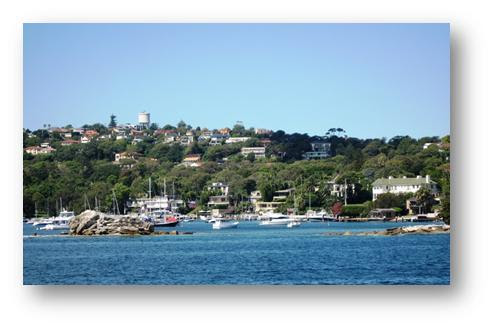 The Southern harbor foreshore with yachts in the garden!