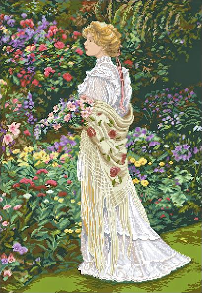 In her garden pattern