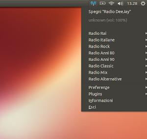Radio Italiane su Radio Tray in Ubuntu