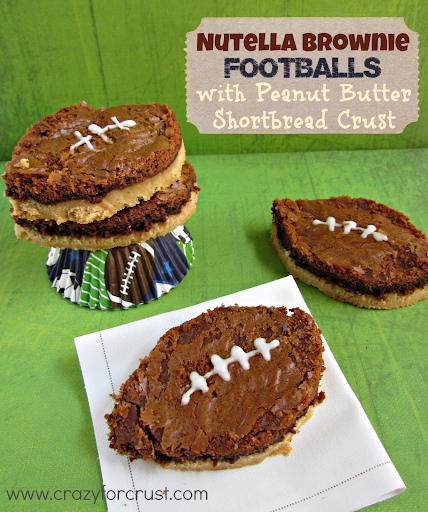 Recipe: Nutella brownie footballs with peanut butter shortbread crust
