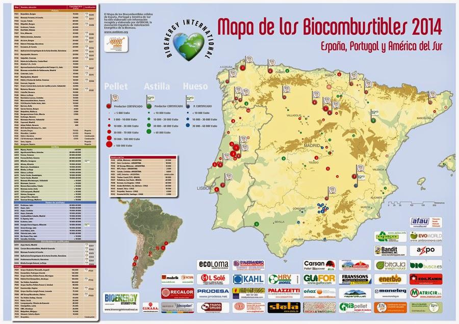 Mapa de los Biocombustibles sólidos 2014. Pellet, astilla y hueso. Edita AVEBIOM