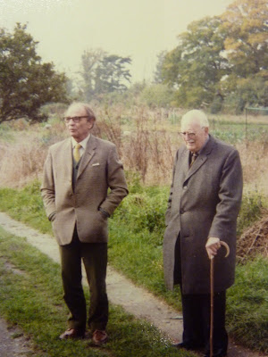 Blennie Powell and Gp Capt Latham at the handing over ceremony of the allotments by Mr Powell to the village October 1981