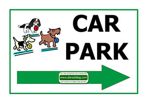 Dorset dog show A4 Right arrow car park sign