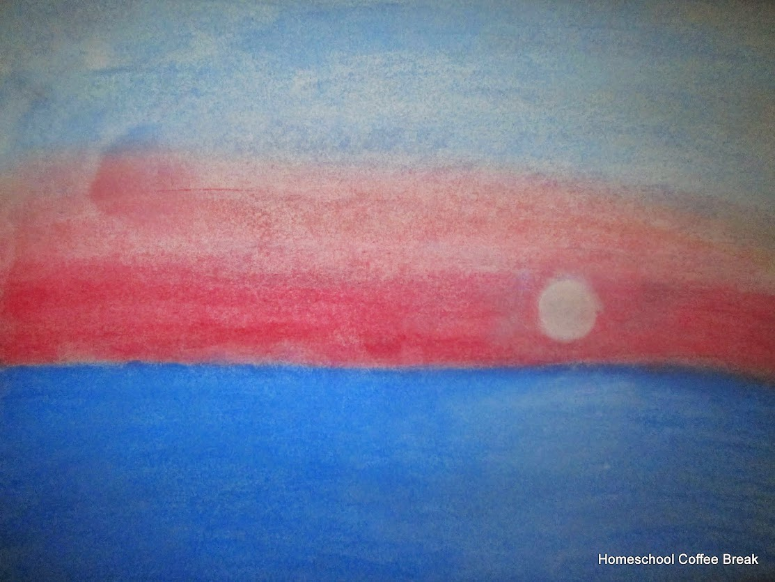 Chalk Pastel Sunrise on the Virtual Fridge, an art link-up hosted by Homeschool Coffee Break @ kympossibleblog.blogspot.com