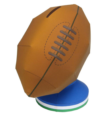 Rugby Ball Money Box Papercraft