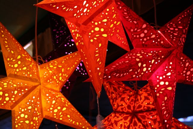 Paper lanterns at the Cologne Christmas market at the Chocolate Museum in Germany