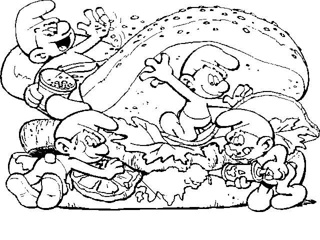 Dibujos para colorear de los pitufos, fiesta pitufa