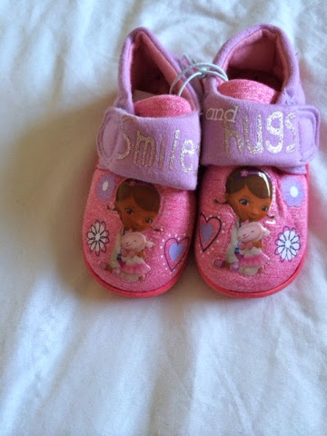 child pink and purple doc Mcstuffing slippers
