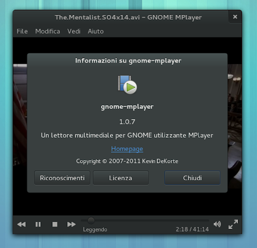 Gnome MPlayer 1.0.7 - info
