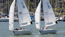 J/22s sailing downwind- San Diego match race