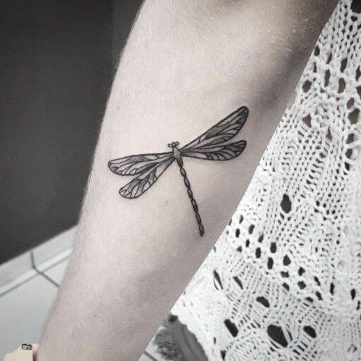 dotwork dragonfly tattoo on arm