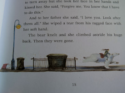East of the Sun, West of the Moon by Jackie Morris- illustration of girl travelling on the back of a polar bear
