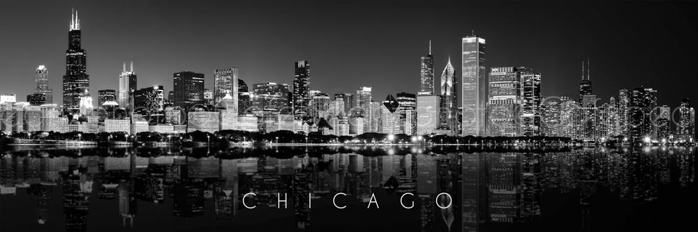 Wall Art Canvas Print Chicago Skyline Black White