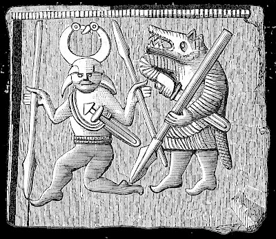 bronze plate. Place of discovery Oland Sweden. Depicted are a berserker (right) and the god Odin (left).
