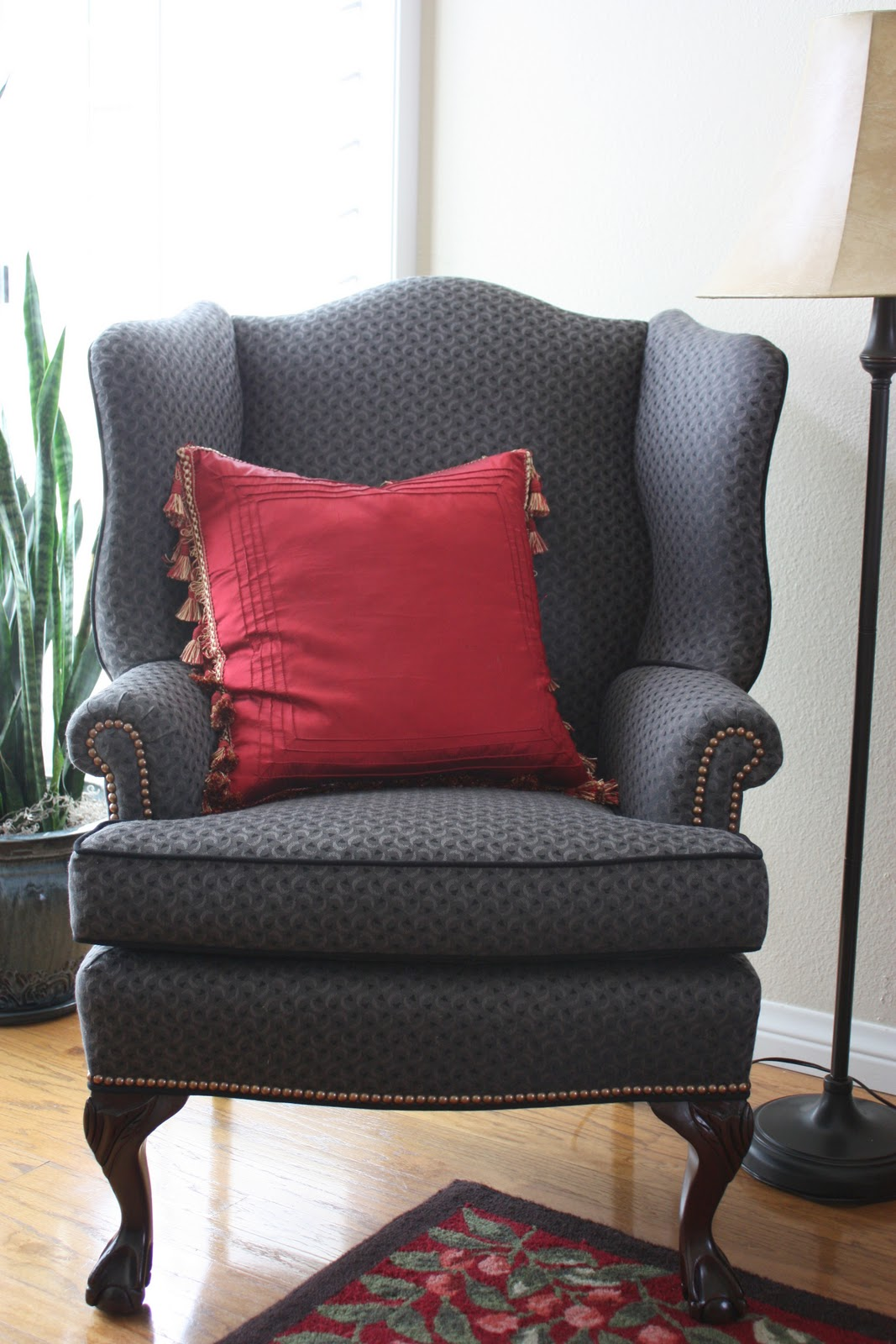 Balanced Style Reupholstered Antique Wingback Chairs