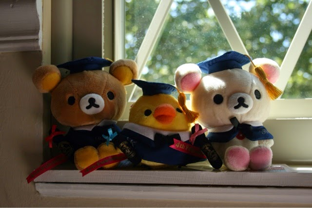 when my mom asked me what i wanted for graduation it was easy rilakkuma graduation plushies i was so lucky they were released this year