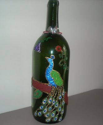 Egg Shell Mosaic on Wine bottle