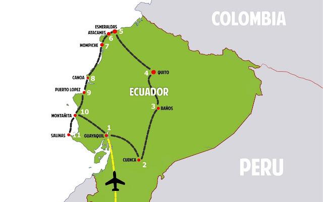 Mapa viaje por Ecuador
