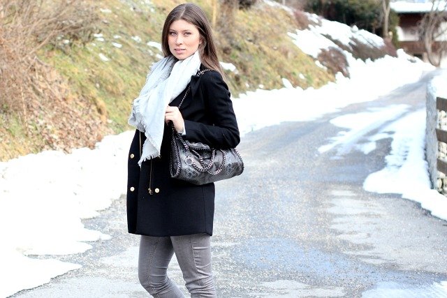 outfit: wearing stella's falabella bag