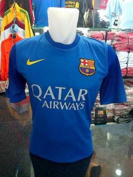 Jersey Kiper Barcelona Biru Lengan Pendek Away 2014