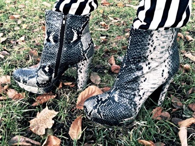 Black and white snake print heels