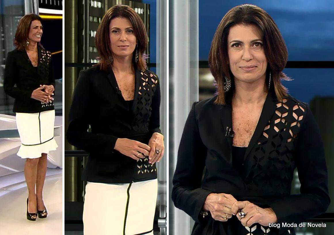 moda do programa Domingo Espetacular - look da Janine Borba dia 19 de outubro