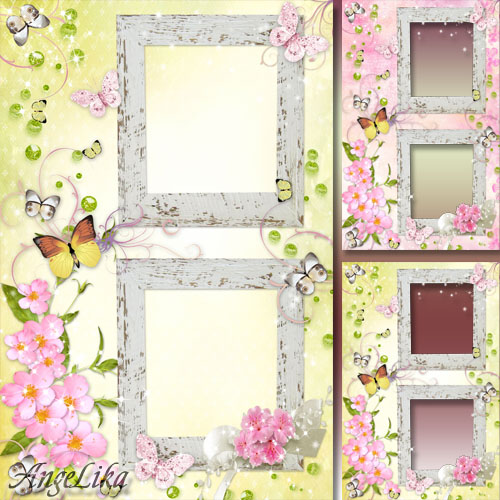 Цветочная рамка на 2 фото - Весеннее настроение