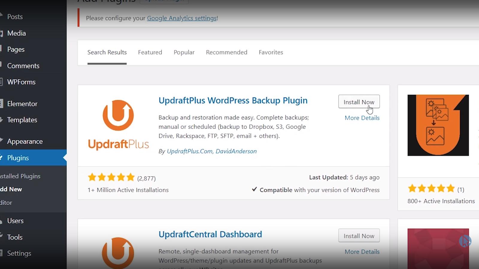 updraft plus wordpress backup plugin install