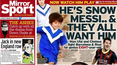 8 year old Claudio Gabriel Nancufil (Snow Messi) is being tracked by Man United, Chelsea, Real Madrid & Barcelona