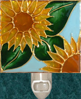 light blue sunflowers stained glass