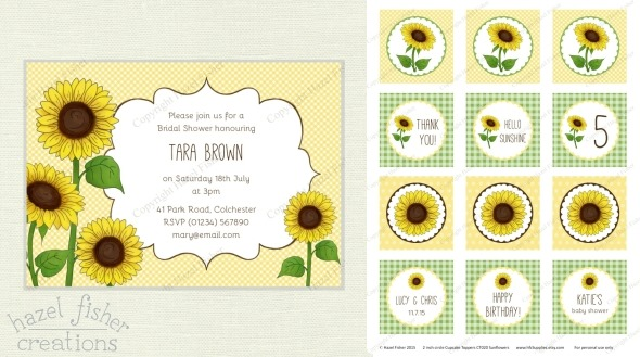 2015 June 01 may monthly review sunflower printable invitation and cupcake toppers hazelfishercreations