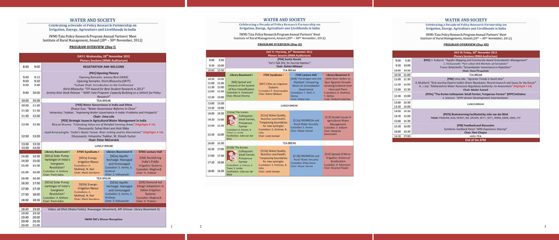 APM 2012: Detailed Program Schedule