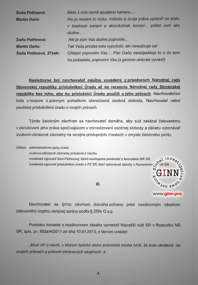 Žaloba GINN vs Robert Kaliňák a Ministerstvo vnútra, strana 4