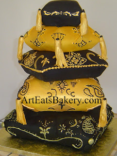 5 tier gold and black Arabian themed sculpted pillows 40th birthday cake with edible tassels