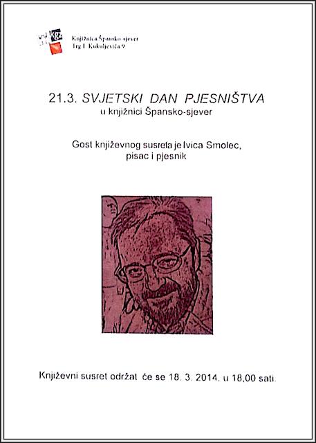 Plakat - pozivnica na susret s pjesnikom povodom Dana poezije 2014. godine