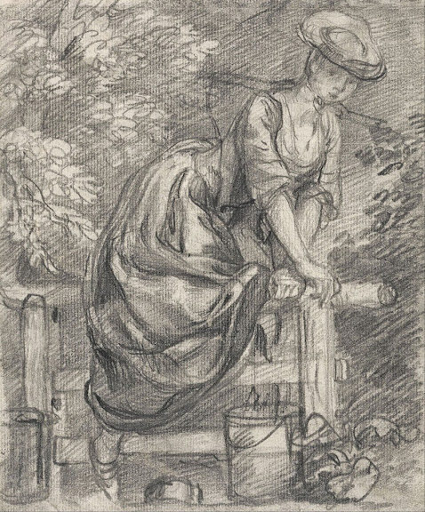 Thomas Gainsborough - A Milkmaid Climbing a Stile