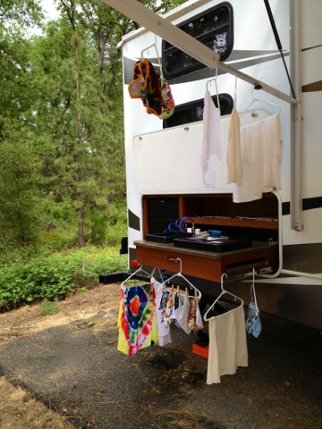 Cloth diapers drying outside our camper