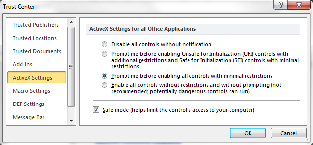 ActiveX Settings