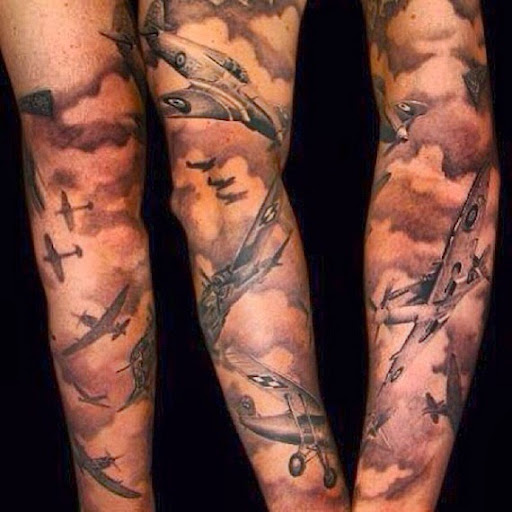 Cloud shading tattoo full sleeves