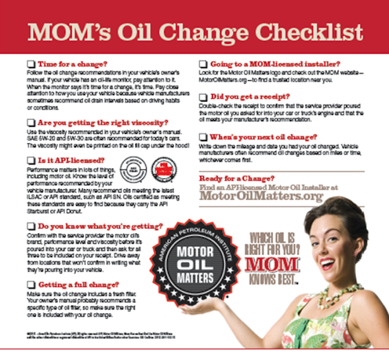 Motor Oil Matters - Oil Change Checklist