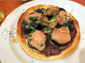 A meatstravaganza dinner at Au Pied De Cochon for 10 ladies on September 13, 2014 - Cured foie gras and boudin tart