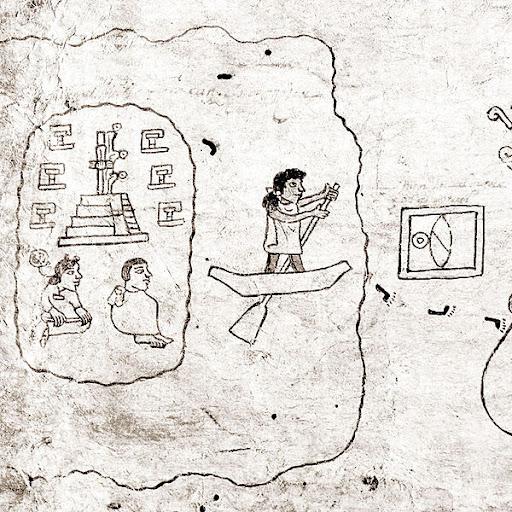 Representação da partida de Aztlan no códice Boturini.