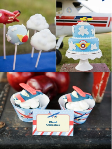 Tarta, cupcakes y cakepops tematica aviones